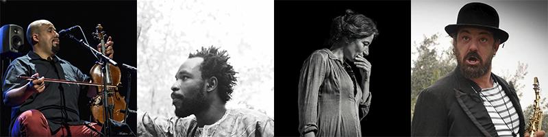 Abdel Bouzbiba (musicien, conteur), Hélène Bardot (conteuse), Fabrice Vialatte (musicien), Bakary Traoré (slameur)