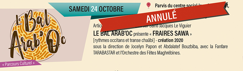 Concert le Bal Arab'Oc annulé