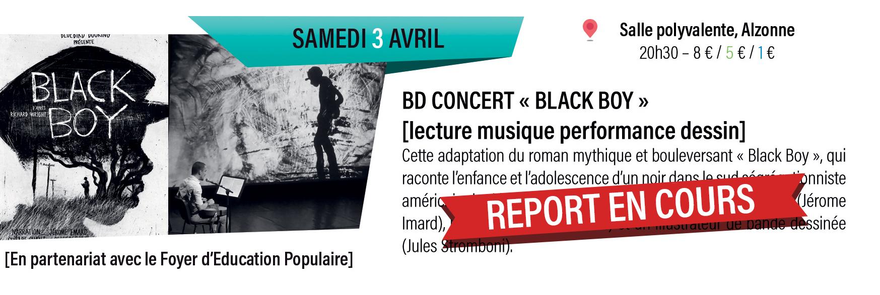 """BD concert """" black boy """" : lecture musique performance dessin"""