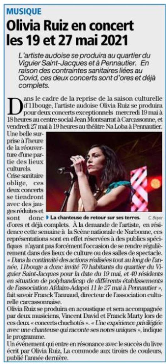 Article de presse concert Olivia Ruiz