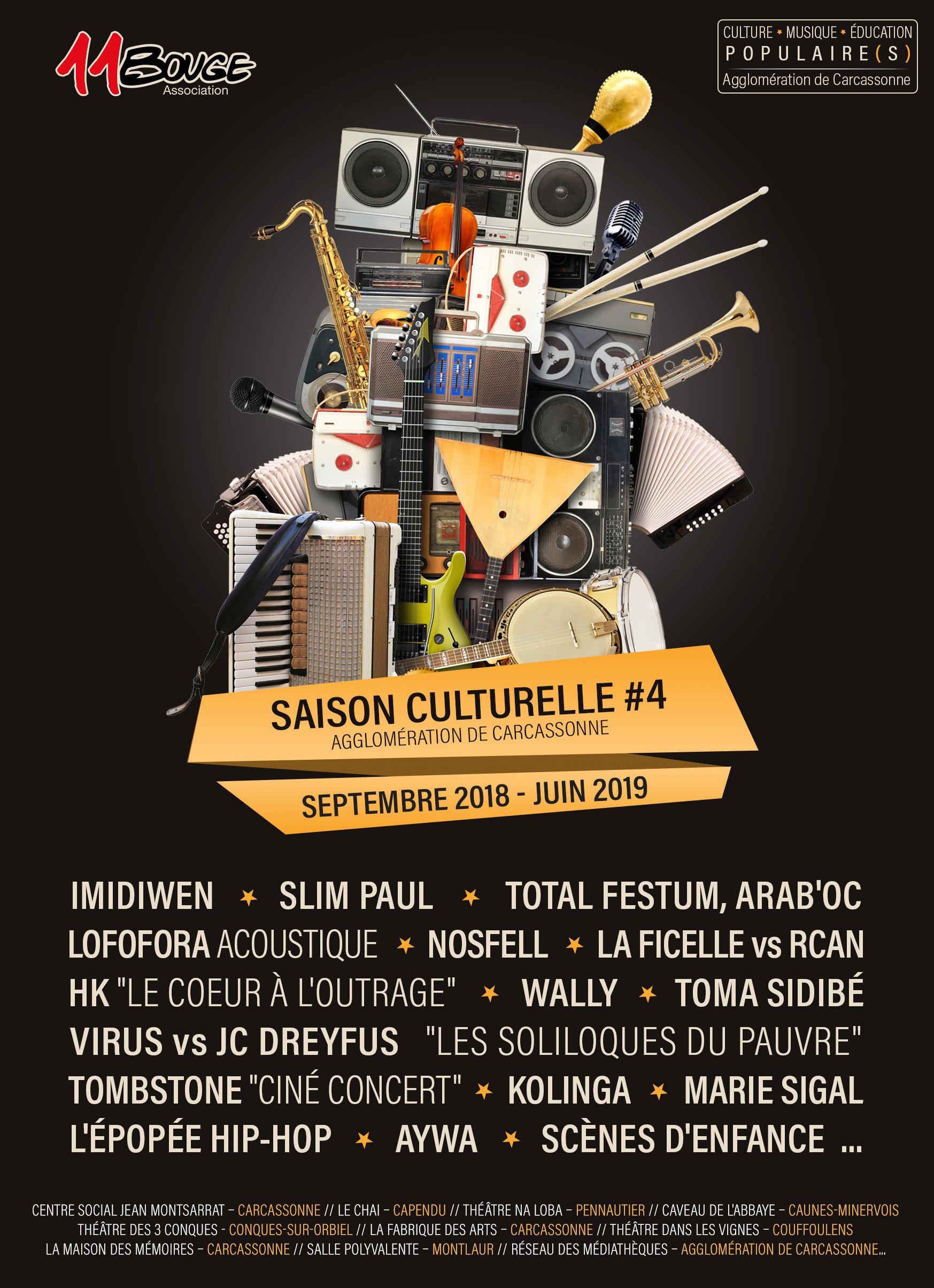 saison culturelle de l'association 11bouge à Carcassonne et agglomération 2018 - 2019