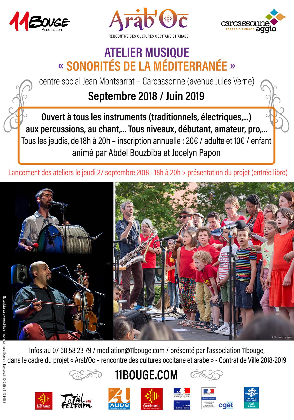 Atelier Sonorités de la Méditerranée et au Grand Orchestre Arab'Oc