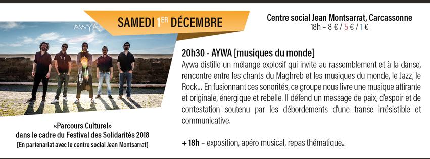concert de Aywa - Centre social Jean Montsarrat - Carcassonne