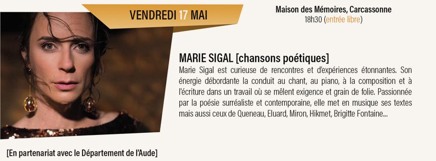 concert Marie Sigal Maison des Mémoires à Carcassonne